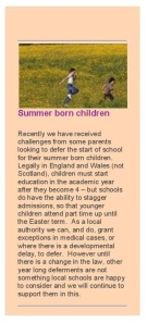 Norfolk CC on Summer Born Children pg 1